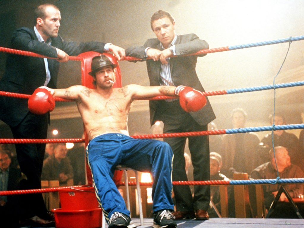 Snatch (2000) Directed by Guy Ritchie Shown: Jason Statham, Brad Pitt, Stephen Graham